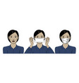 a beautiful asian woman wears a protective medical vector image vector image
