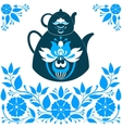 a Teapot on a Blue background vector image vector image