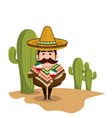 Background cactus with man mexican and traditional vector image