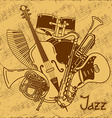 background with musical instruments vector image vector image