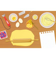 bakery background with cooking ingredients and vector image