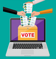 ballot box document with candidates on laptop vector image