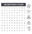 birthday line icons signs set outline vector image vector image
