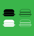burger icon black and white color set vector image