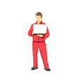 car repair service worker in sportwear with laptop vector image