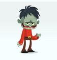 cartoon funny green zombie growling vector image vector image