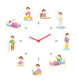children daily routine activities vector image