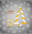 christmas card with folded tree in white orange vector image vector image