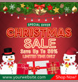 christmas sale banner design with snowman gift box vector image vector image