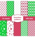 Classic green and pink seamless patterns with dots vector image vector image