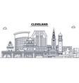 cleveland united states outline travel skyline vector image vector image