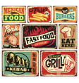 collection retro food restaurant signs vector image vector image