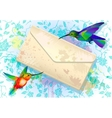 Colorful hummingbirds with grunge envelope vector image vector image