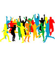 colorful silhouettes of people jumping vector image vector image