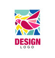 creative logo design with pink tropical bird vector image vector image