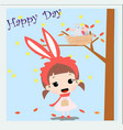 cute rabbit baby girl in spring sumer theme card vector image vector image