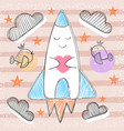 cute rocket - cartoon baby vector image