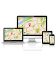 Digitl devices with GPS map vector image vector image