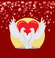 embracing doves with raised wings valentine vector image vector image