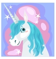 Female unicorn with blue mane vector image vector image