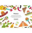 flat mexico attributes background place vector image