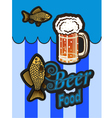 glass of beer with foam and fish vector image vector image