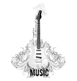 Guitar Icon with Floral Elements vector image