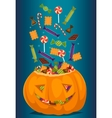Halloween pumpkin full of candy treats vector image