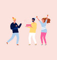 happy friends celebrating party birthday cake vector image