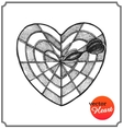 Heart in form target of defeat arrow in goal vector image