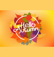 hello autumn concept with color leaves vector image vector image
