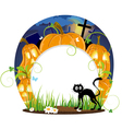 Jack o lanterns and black cat vector image