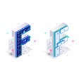 letters f with social networks elements vector image vector image