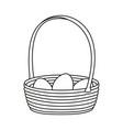 line art black and white wicker basket eggs vector image vector image