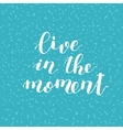 Live in the moment Brush lettering vector image vector image