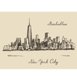 Manhattan New York city engraved vector image vector image