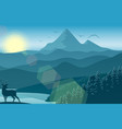 mountain landscape with deer and forest at morning vector image vector image