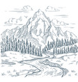 mountains river engraving outdoors travel vector image vector image