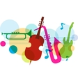 music template with notes guitar and saxophone vector image vector image