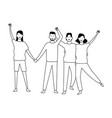 people friends cartoon in black and white vector image vector image