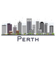 perth australia city skyline with gray buildings vector image vector image