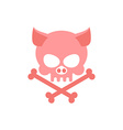 Pig skull with bones Head skeleton of pig Logo for vector image