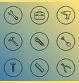 repair icons line style set with bolt measurement vector image vector image