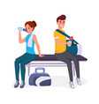 rest after exercise in gym flat set vector image vector image