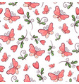 seamless pattern butterflies and flowers hand vector image vector image