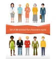set 10 detailed flat characters on white vector image