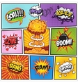 Set of comics speach and explosion bubbles 2 vector image vector image
