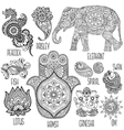 set of symbols used in mehndi vector image