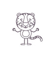 sketch contour caricature of cute tiger happiness vector image vector image