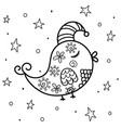 sleeping bird at night coloring page sweet dreams vector image vector image